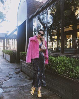 hallie daily blogger dress coat jewels shoes bag sunglasses winter outfits faux fur jacket pink fur coat velvet dress midi dress sandals