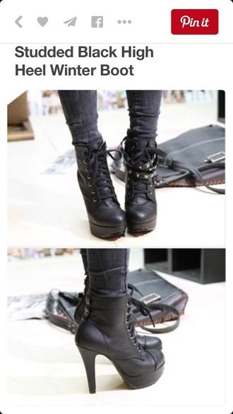 shoes black black heels boots ankle boots black boots