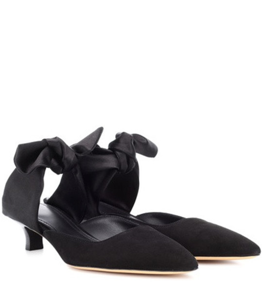 The Row Coco suede mules in black