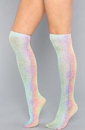 socks,knee high socks,holo,holographic socks,thigh highs,holographic