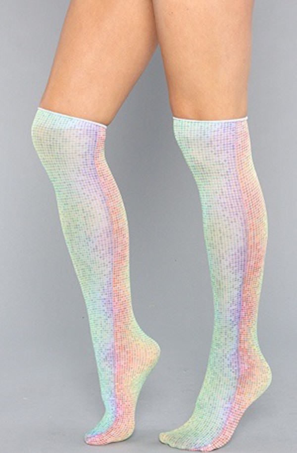 socks knee high socks holo holographic socks thigh highs holographic