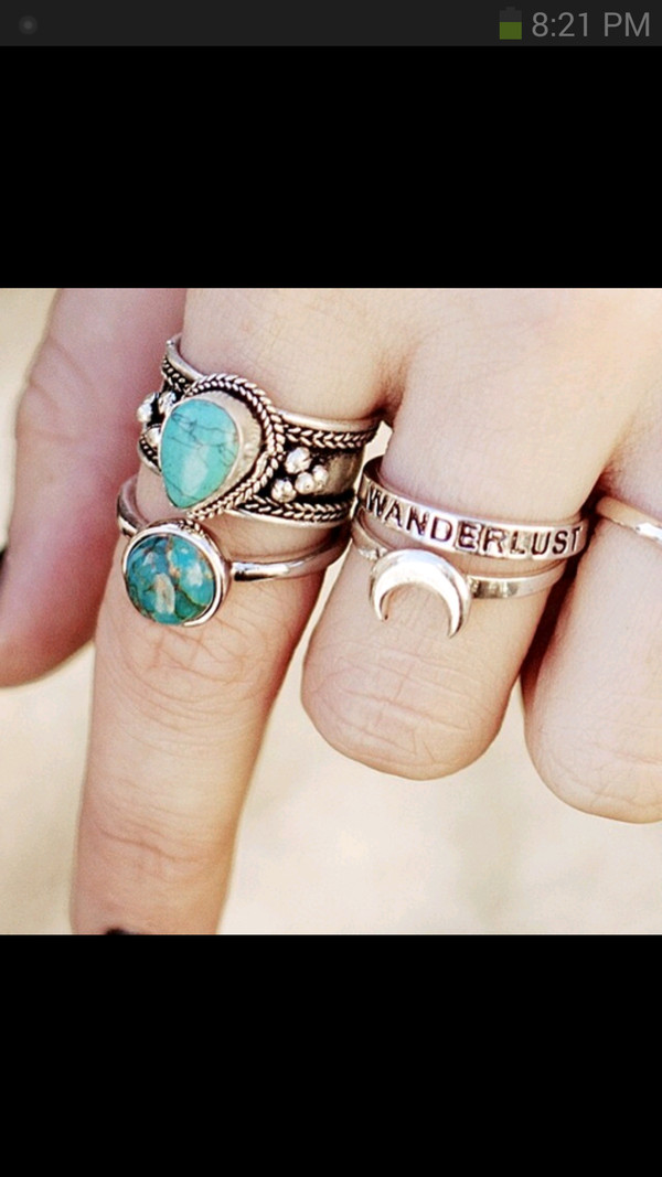 jewels boho moon ring turquoise