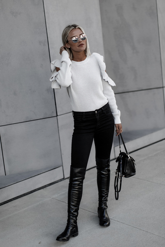 so sage blogger sweater jeans shoes fall outfits white sweater boots black boots black pants