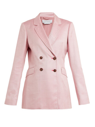 blazer silk wool pink jacket