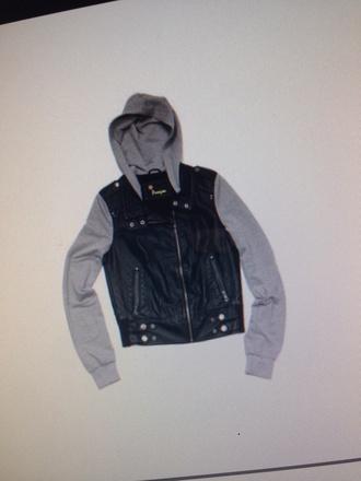 jacket grey leather black leather hoodie zip hoodie