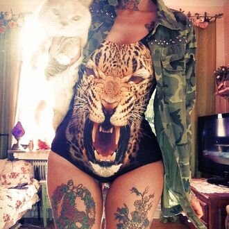 swimwear camouflage tiger cats black bodysuit clothes tattoo jacket big pattern sexy coat swag leopard print one piece one piece swimsuit black swimwear bikini tank top shirt lion bodysuit army green jacket tiger body leopard face tiger bathing suit animal print top animal animal face print animal head