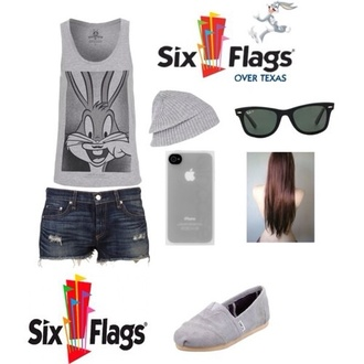tank top gray shorts six flags outfit style toms beanie bugs bunny