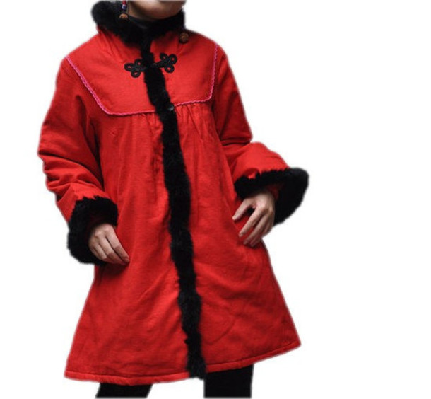 coat padded coat red