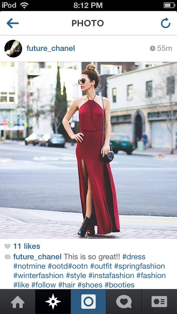 dress red maxi dress wine red