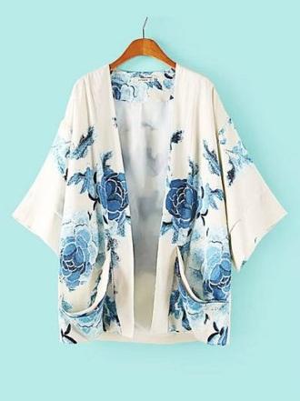 cardigan white blue kimono blue white floral roses