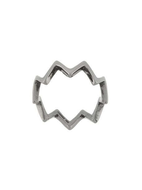 FEDERICA TOSI women ring silver grey metallic jewels