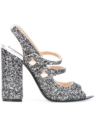 glitter women sandals leather grey shoes