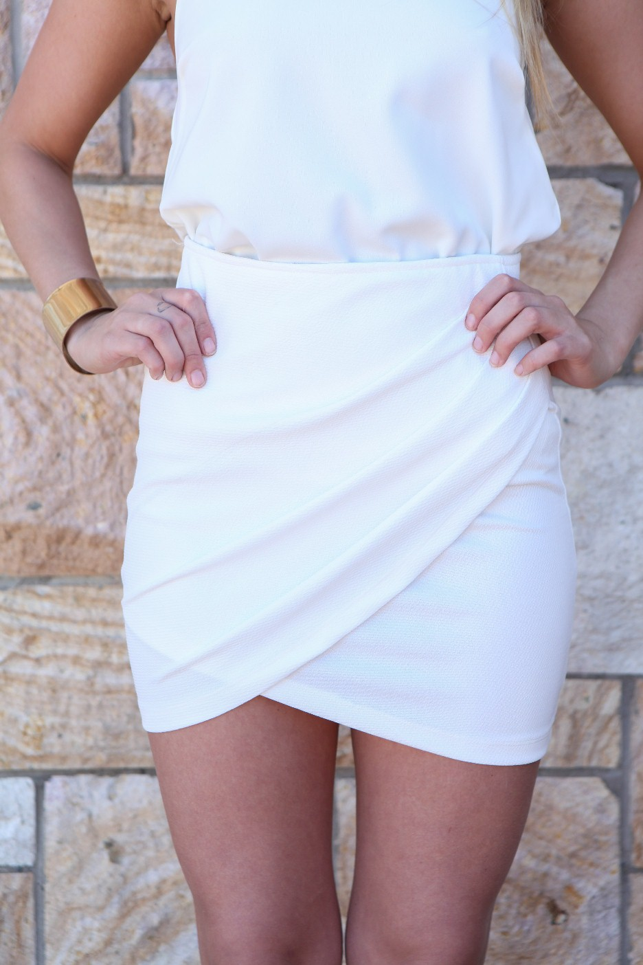 Mini Skirt - White Drape Front Mini Skirt | UsTrendy