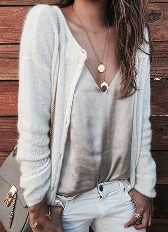top cami top nude top satin top cardigan white cardigan jeans white jeans grey bag bag chloe chloe bag necklace gold necklace bracelets