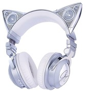 earphones,headphones,cat ears,silver headphones,headphone speakers,kitty kat style boutique,white headphones,dj,raver