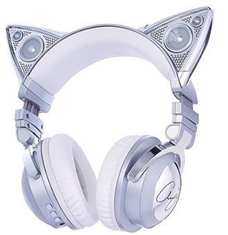 earphones headphones cat ears silver headphones headphone speakers kitty kat style boutique white headphones dj raver