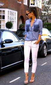shirt,blogger,blue shirt,clothes,shoes,blue,pockets,white,cute,pants,necklace,jewels,chambray shirt,blouse,purple color block,leggings,jeggings,heels,high heels,nude high heels,top,denim,long sleeves,zoe saldana,chambray,big pocket