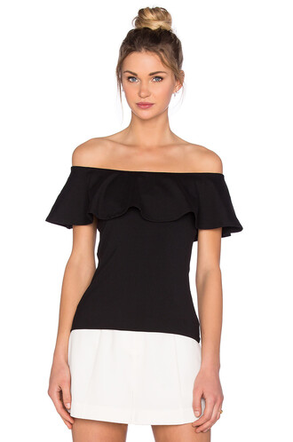 top off the shoulder ruffle black