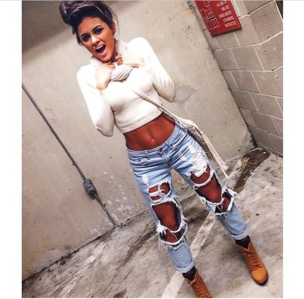 a090af9ab9 High Waist Acid Wash Destroyed Boyfriend Jeans @ Cicihot Pants ...