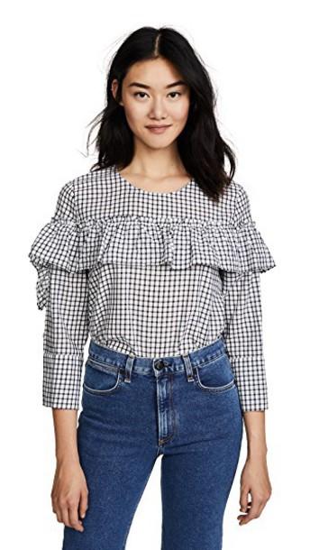 Velvet blouse navy top