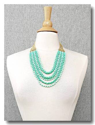 jewels necklace layered necklace beaded necklace mint