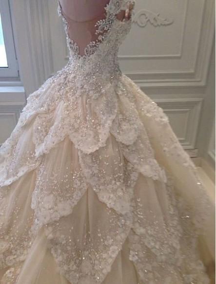embellished wedding dress prom dress fancy white dress