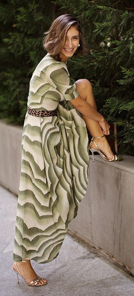 dress green animalprint dress long dress