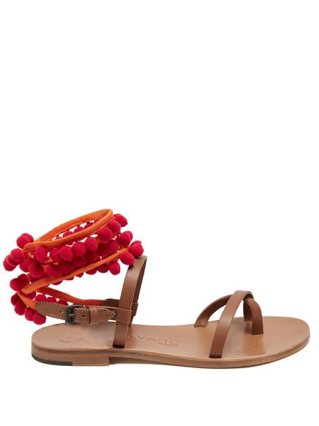 ÁLVARO embellished sandals leather sandals leather red shoes