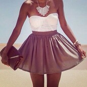 dress,white dress,brown dress,tank top,skirt,jewels,bag,strapless dress,brown pretty,blouse,white,bustier,lace,boob tube,bodysuit,underwear,high waist skirts,crop tops,summer outfits,clutch,necklace,tanned girl,brown skirt,top,pretty,lace dress,tube dress,summer,brown