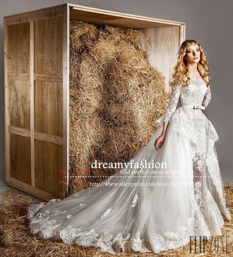 Wedding dress vestido de noivas mermaid lace wedding dress zuhair