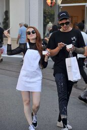 dress,white,white dress,sneakers,streetstyle,spring outfits,madelaine petsch