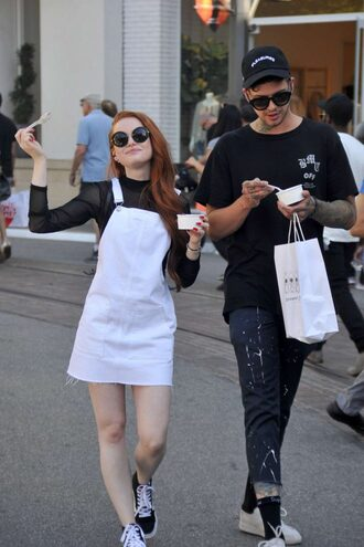 dress white white dress sneakers streetstyle spring outfits madelaine petsch