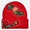 Studded floral beanie hat - red