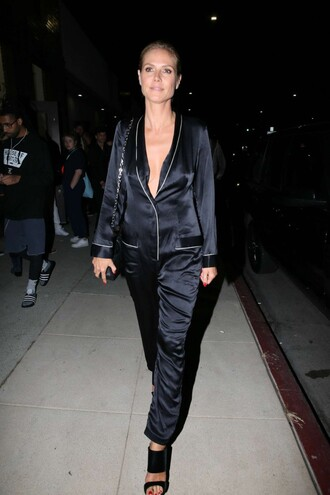 jumpsuit pants pajamas heidi klum sandals all black everything
