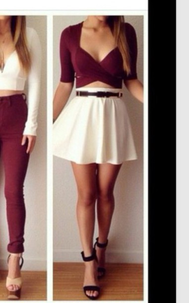 blouse maroon/burgundy/red cut-outs quarter sleeve skirt skater skirt shirt top bergendy crop top and white crop top