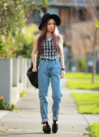 chloe ting jeans belt top jewels