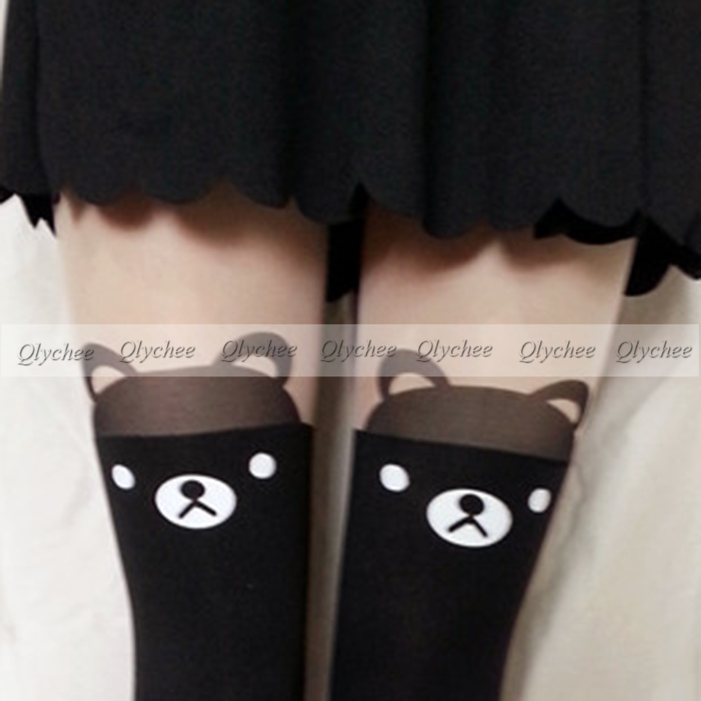 NEW Japan Bear Print Knee High Length  Bear Head Tattoo Tights Pantyhose-in Tights from Apparel & Accessories on Aliexpress.com