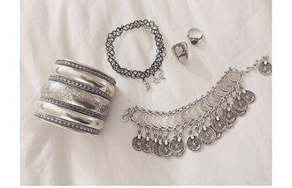 jewels beautiful necklace bangle bracelet silver pretty moon rings