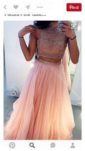 dress,prom,formal,two-piece,pink,two piece dress set