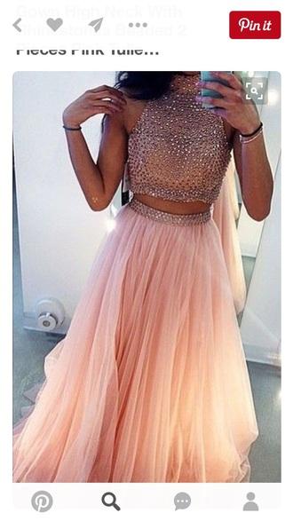 dress prom formal two-piece pink two piece dress set