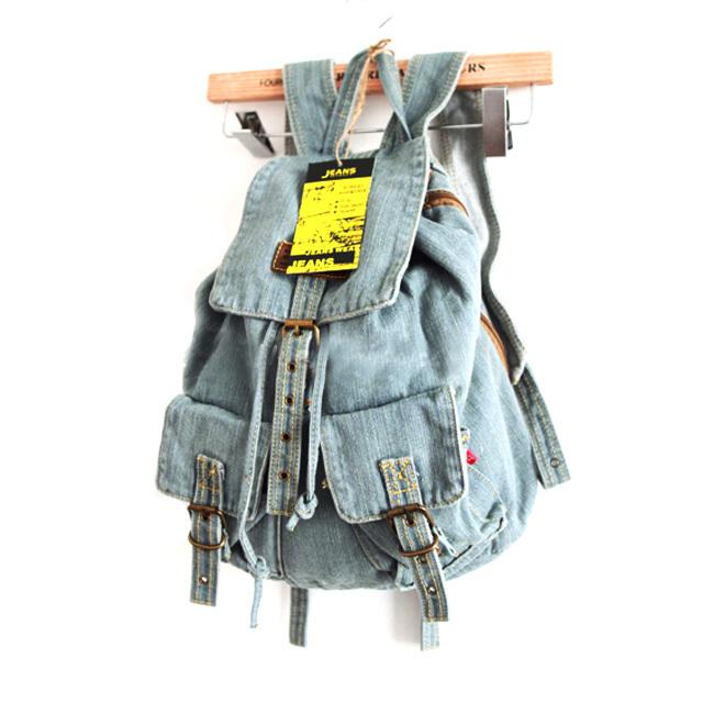 [grhmf22000107]leisure european style blue denim backpack