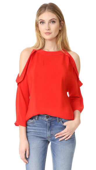 blouse spring red top