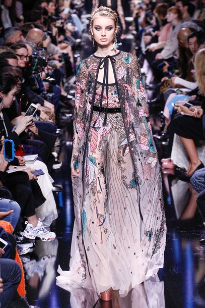 dress elie saab prom dress gown cape Paris Fashion Week 2017 fashion week 2017 runway model maxi dress
