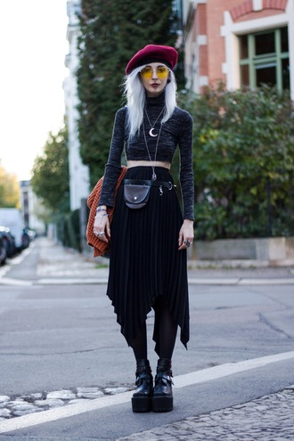 kimi peri blackrush blogger make-up top jewels skirt bag shoes beret pleated skirt boots platform shoes crop tops
