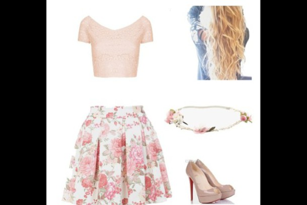 skirt pink skirt floral patterns pastel pink