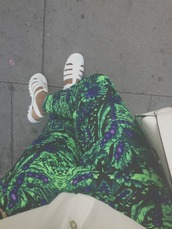 jeans,pants,tights,floral,green,tropical,shoes