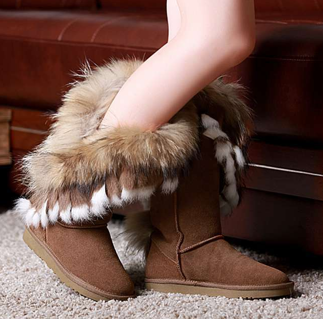 Enuine leather fur snow boots