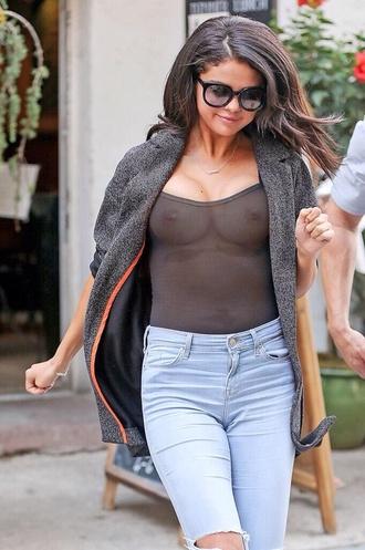 photoshopped shit blouse see through cardigan jacket grey orange jeans sunglasses fake photoshopped selena gomez shirt dress