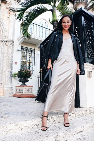 caradisclothed blogger dress jacket bag shoes slip dress black leather jacket sandals maxi dress handbag spring outfits