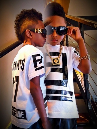 shirt guys sunglasses kids fashion fashion swag jewelry gold boys fashion kids with swag